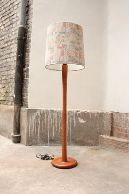Dyrlund Large Vintage Floor Lamp In Solid Teak With Fabric Lampshade 1970s 1
