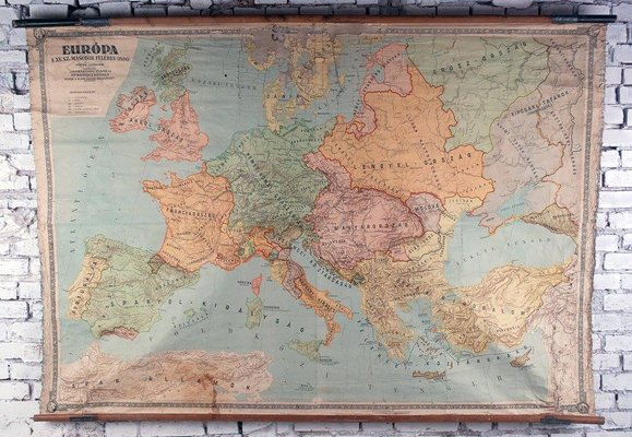 15th Century Map Of Europe.German Map Of 15th Century Europe From Dr Haack 1970s For Sale At