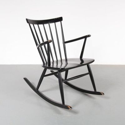 scandinavian black wooden rocking chair 1950s for sale at pamono
