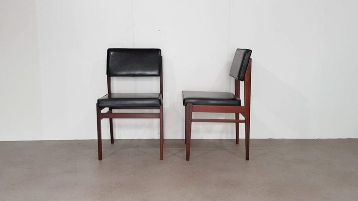 Incredible Black Faux Leather Dining Chairs From Topform 1950S Set Of 2 Pabps2019 Chair Design Images Pabps2019Com