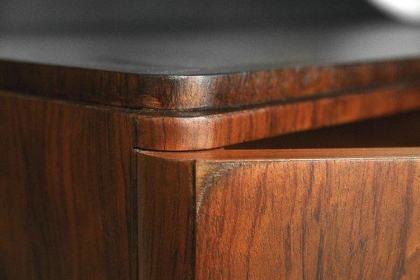 Modern Art Deco Walnut Dressing Table With Round Mirror 1950s 9
