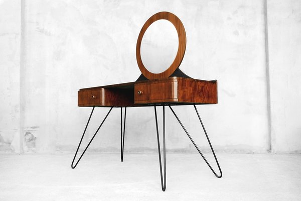 Modern Art Deco Walnut Dressing Table With Round Mirror 1950s 2