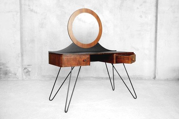 Credenzas Modernas En Espejo : Tocador moderno art déco de nogal con espejo redondo años 50 en