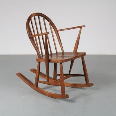Scandinavian Oak Rocking Chair, 1940s 1
