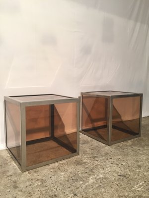 Plexiglas U0026 Chrome Steel Cube Tables, 1970s, ...