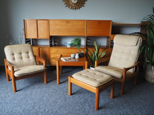 Danish Modern Teak Chair Ottoman With Beige Upholstery From Domino Mobler