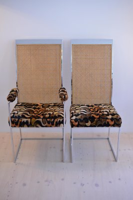 Terrific Rattan Back Dining Chairs With Fabric Upholstery By Milo Baughman For Thayer Coggin 1975 Set Of 2 Home Interior And Landscaping Ologienasavecom