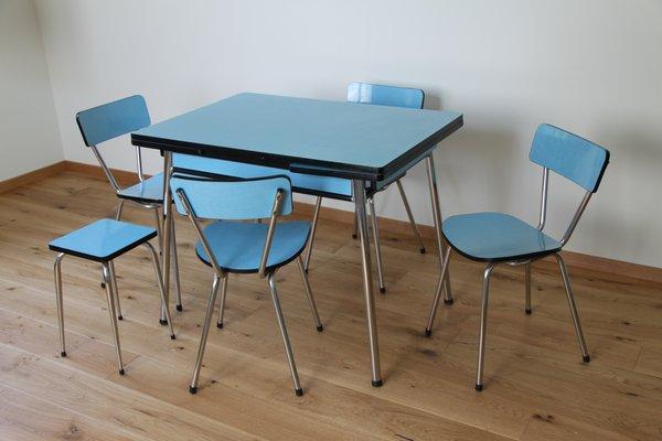 Tavolo da pranzo con quattro sedie e sgabello, anni \'50