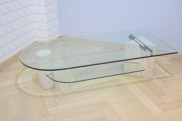 Vintage Glass U0026 Travertine Coffee Table From Roche Bobois 1