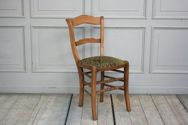 Antique French Chairs with Green Upholstery, Set of 6 1 - Antique French Chairs With Green Upholstery, Set Of 6 For Sale At Pamono