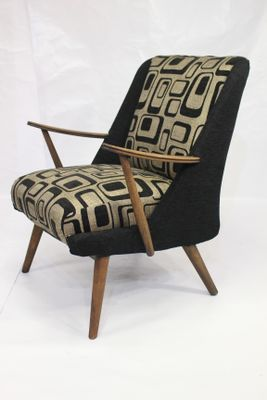 Lounge Chair in Geometric Fabric 1950s 1 & Lounge Chair in Geometric Fabric 1950s for sale at Pamono