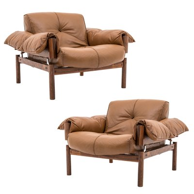 Mid Century Brazilian Lounge Chairs In Leather U0026 Rosewood By Percival Lafer,  Set Of