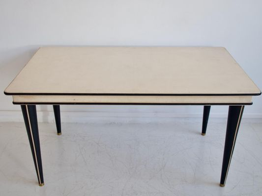 Table De Salle A Manger Serie Turin En Similicuir Couleur Creme Par Umberto Mascagni 1950s