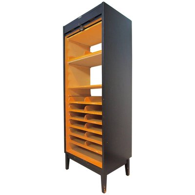 Bon Tall Mid Century Tambour Filing Cabinet From O. Jonsson 2