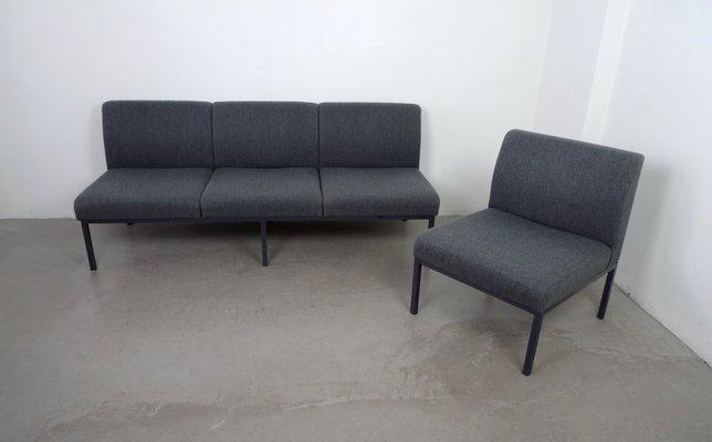 Deutsches Sofa Sessel In Grauer Wolle Von Fröscher 1960er Bei