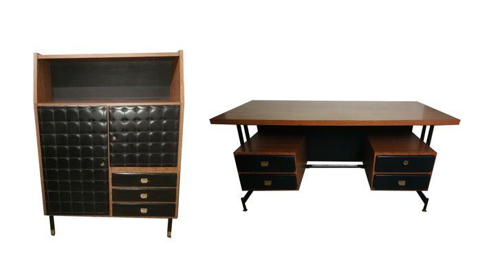 Mobilier de bureau en cuir et bois italie s en vente sur pamono