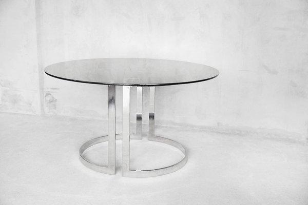 grande table de salle manger ronde en verre par milo baughman 1970s 1