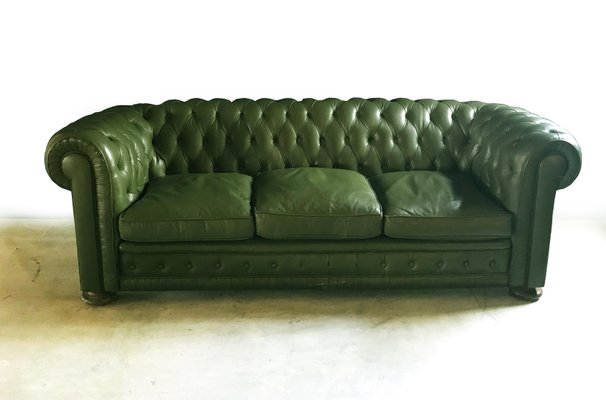 Green Leather Chesterfield Sofa, 1970s 1