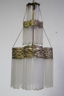 Antique 3 Tier Br Gl Pendant Light