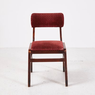 Vintage Red Velvet Stackable Chair 1970s 1