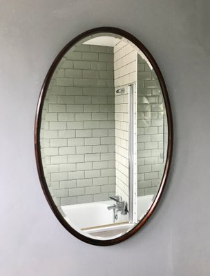 Vintage Oval Mirror With Wooden Frame 2