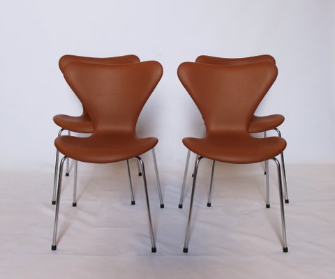 Surprising Model 3107 Cognac Leather Chairs By Arne Jacobsen For Fritz Hansen 1967 Set Of 4 Creativecarmelina Interior Chair Design Creativecarmelinacom