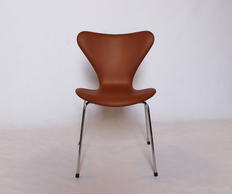 Stupendous Model 3107 Cognac Leather Chairs By Arne Jacobsen For Fritz Hansen 1967 Set Of 4 Pabps2019 Chair Design Images Pabps2019Com