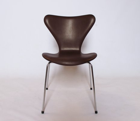 Admirable Model 3107 Dark Brown Leather Chairs By Arne Jacobsen For Fritz Hansen 1967 Set Of 4 Pabps2019 Chair Design Images Pabps2019Com