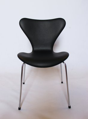 Groovy Model 3107 Black Leather Chairs By Arne Jacobsen For Fritz Hansen 1967 Set Of 6 Pabps2019 Chair Design Images Pabps2019Com
