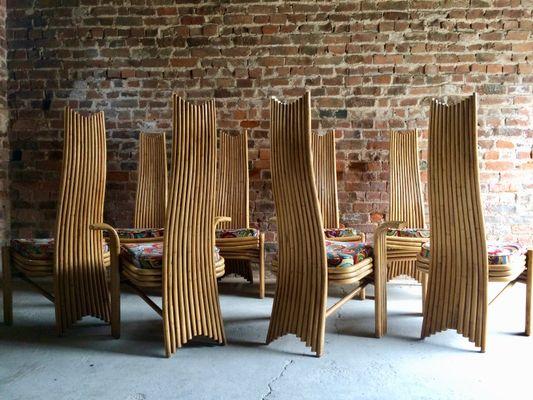Sedie Schienale Alto Design : Sedie da pranzo con schienale alto in bambù anni set di in