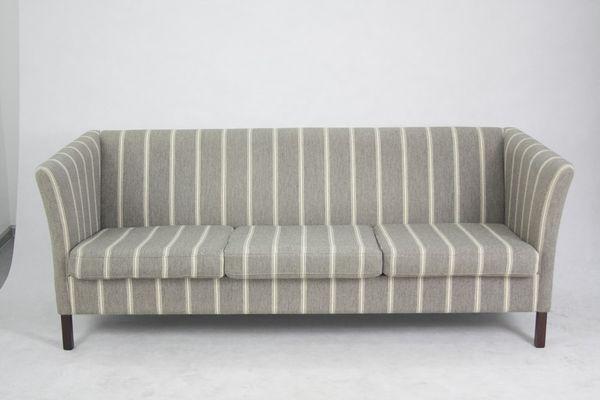 Vintage Grey Striped 3 Seater Sofa By Børge Mogensen 1960s 1
