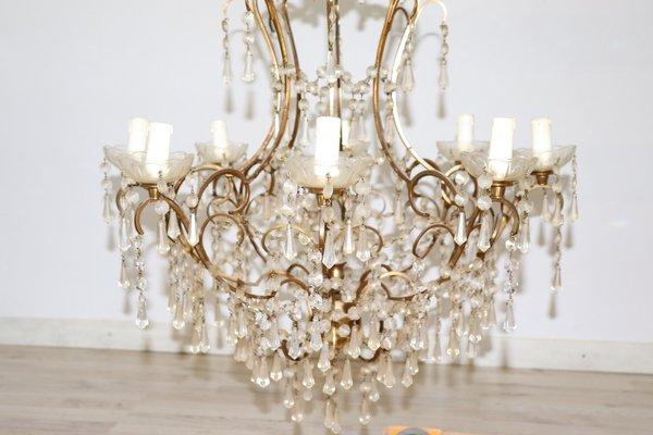 Lampadario Bianco E Cristallo : Lampadario vintage in bronzo dorato e cristallo anni in