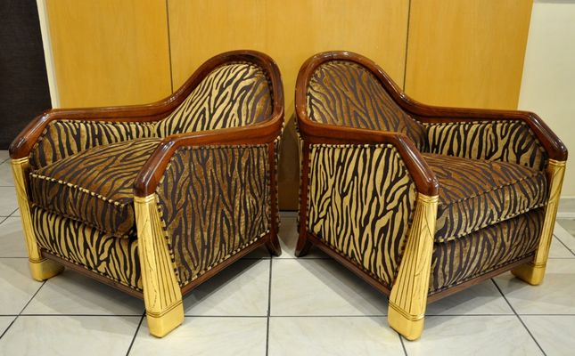 Art deco lounge chairs by léon jallot for the normandy liner