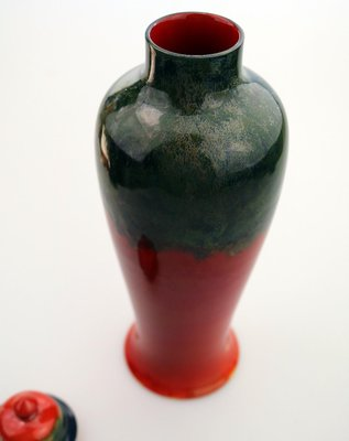 Large British Art Pottery Vase With Lid By Bernard Moore 1910s For