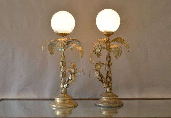 Vintage Palm Tree Table Lamps Set Of 2