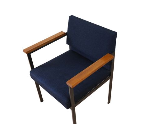 Mid-Century Metal Chair with Wooden Armrests and Upholstered Seat 1960s 2  sc 1 st  Pamono & Mid-Century Metal Chair with Wooden Armrests and Upholstered Seat ...