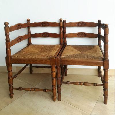 Vintage French Corner Chairs, Set of 2 1 - Vintage French Corner Chairs, Set Of 2 For Sale At Pamono