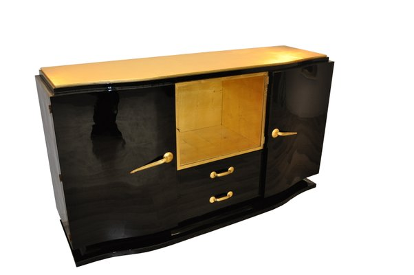 Black Art Deco Sideboard With Golden Details 1920s For Sale At Pamono
