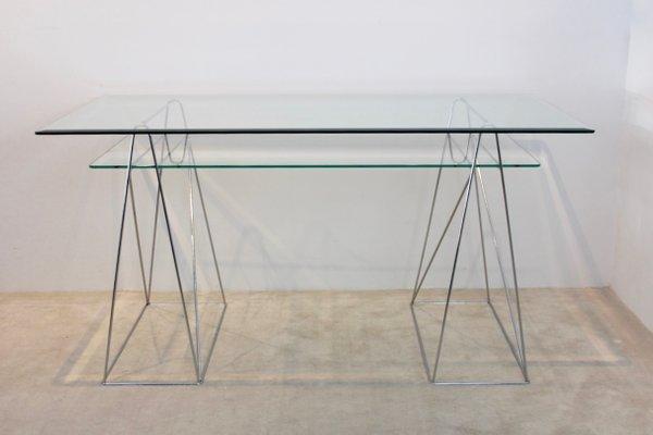 Table console ou bureau tréteau vintage en chrome et verre en