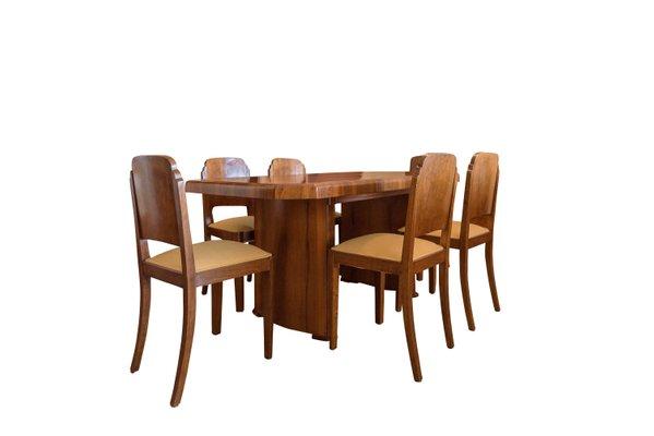 Art Deco Esstisch 6 Stuhle Aus Nussholz 1920er Bei Pamono Kaufen