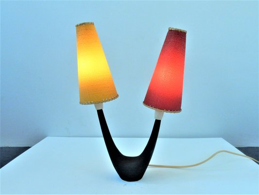 Vintage Table Lamp With Red Yellow Shades 1950s For Sale At Pamono