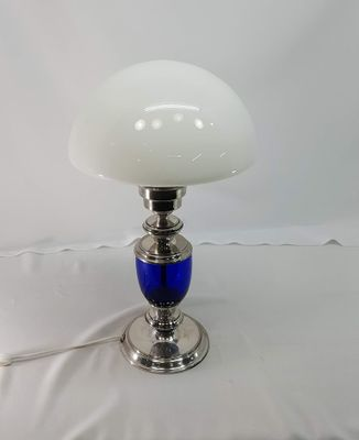 Vintage silver table lamp with cobalt blue glass body for sale at pamono vintage silver table lamp with cobalt blue glass body 3 greentooth Choice Image