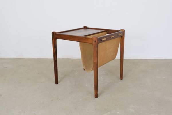Danish Veneered Rosewood Side Table With Magazine Rack 1960s 1
