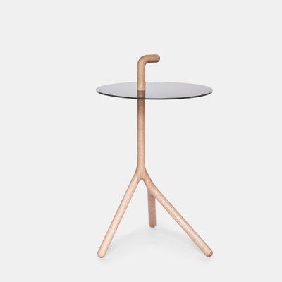 Yot Side Table In Oak Black Corian From Florian Saul Design Developement