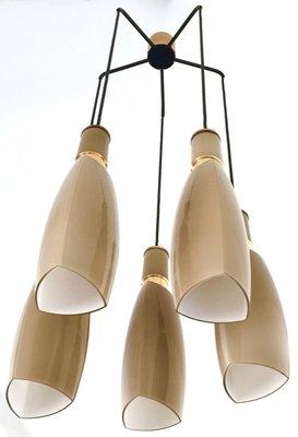5 Lampen Kronleuchter In Graubraun Von Stilnovo, 1950er 2