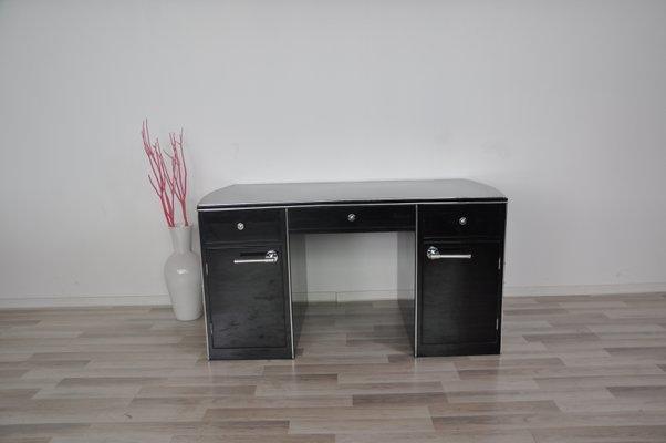 Schwarzer Schreibtisch In Hochglanz 1940er Bei Pamono Kaufen