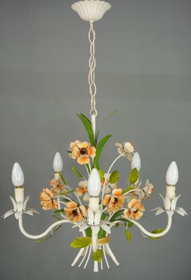 Mid Century French Wrought Iron Chandelier 1