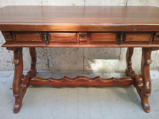 Antique Desk & 3 Chairs from Caltagirone 2 - Antique Desk & 3 Chairs From Caltagirone For Sale At Pamono
