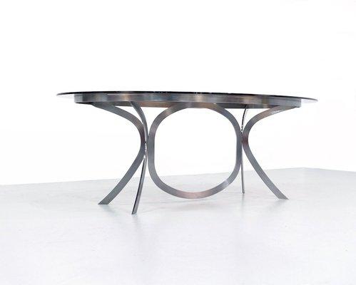 Ripiano In Vetro Per Tavolo.Tavolo Da Pranzo Space Age In Acciaio E Ripiano In Vetro In Vendita