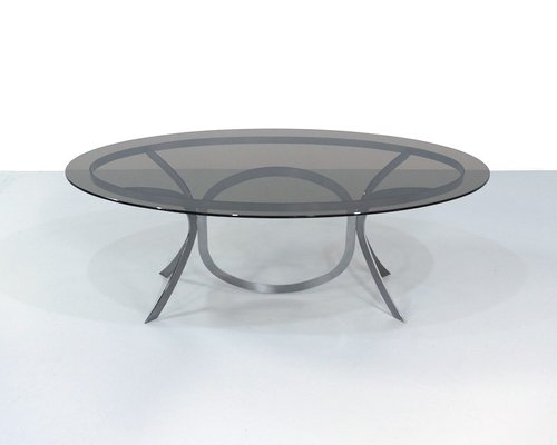 Large Space Age Stainless Steel Dining Table With Smoked Glass Top
